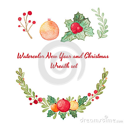Free Hand Drawn Watercolor Raster Christmas Wreath Set On White. Royalty Free Stock Photo - 63048545