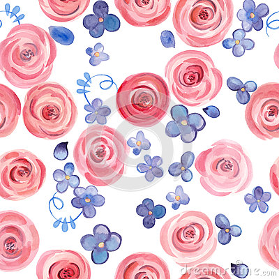 Free Hand Drawn Watercolor Roses And Cute Little Flowers Seamless Pattern. Royalty Free Stock Image - 66644326