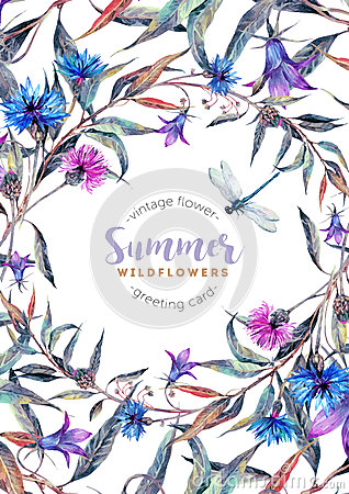 Free Hand Drawn Watercolor Wildflower Wreath Royalty Free Stock Photography - 76997687