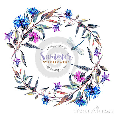 Free Hand Drawn Watercolor Wildflower Wreath Royalty Free Stock Photo - 76997695