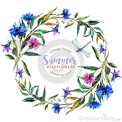 Free Hand Drawn Watercolor Wildflower Wreath Stock Image - 76997731