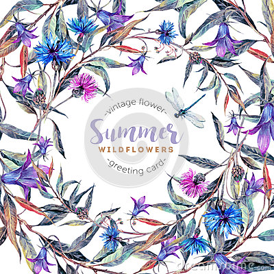 Free Hand Drawn Watercolor Wildflower Wreath Stock Image - 76997751