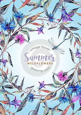 Free Hand Drawn Watercolor Wildflower Wreath Stock Photography - 76997872