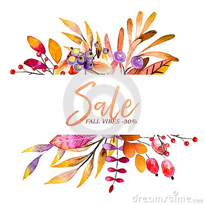 Free Hand Drawn Watercolor Wreath Of Forest Leaves, Flowers, Berries. Black Friday Discount. Autumn Abstract Branches. Mapple Stock Photography - 123904702