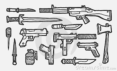 Hand drawn weapons