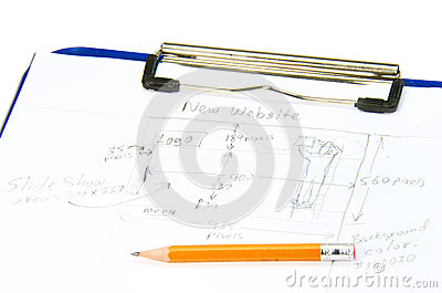 Hand drawn web site design sketch for planning