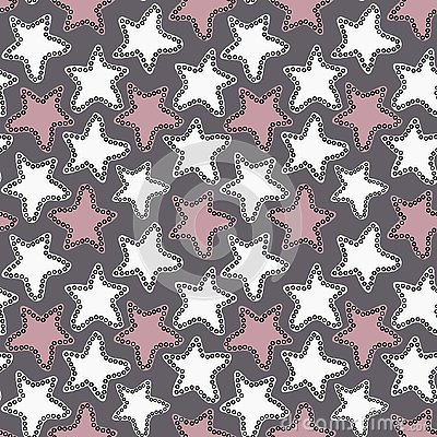Hand drawn white and pink stars on dark gray background. Vector Illustration