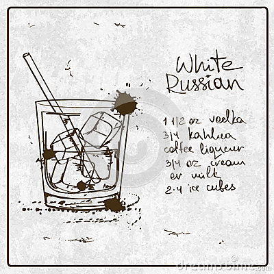 Hand drawn white russian cocktail stock vector image for Cocktail recipes with ingredients on hand
