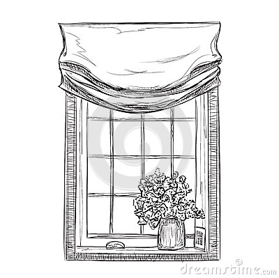 Hand drawn windows sketch stock vector image 65101963 for Window design sketch
