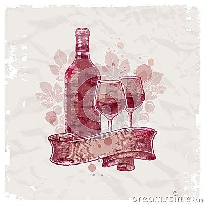 Hand drawn wine bottle & glasses