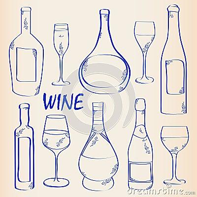Hand Drawn Wine Icon Set
