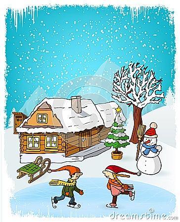 Free Hand Drawn Winter Scenery Stock Photo - 63107580