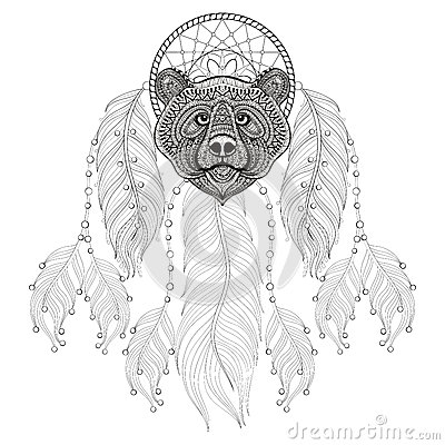 Hand drawn zentangle dreamcatcher with bear head for adult for Bear head coloring page