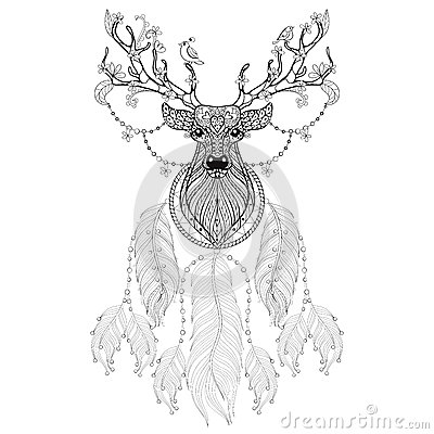 Hand Drawn Zentangle Dreamcatcher With Tribal Hprned Deer With F Stock Vector