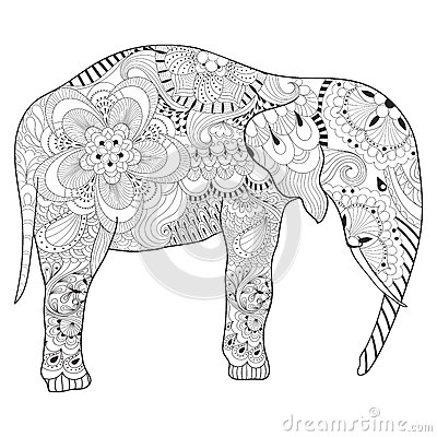 Free Hand Drawn Zentangle Elephant With Mandala For Adult Antistress Stock Photo - 72563830