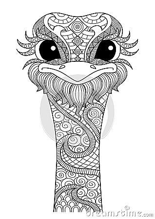 Drawn zentangle ostrich for colouring book shirt design logo tattoo