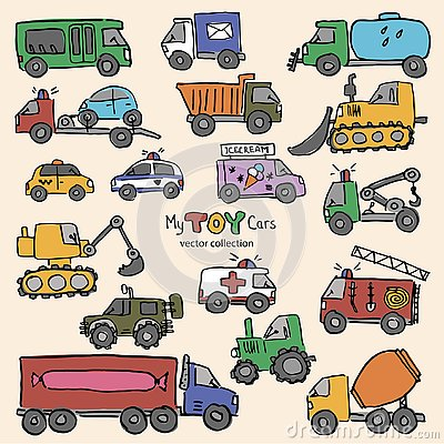 Free Hand-drwan Toy Cars Vector Collection Royalty Free Stock Images - 141280949