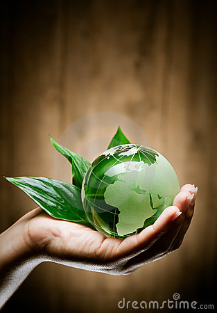 Hand with eco globe