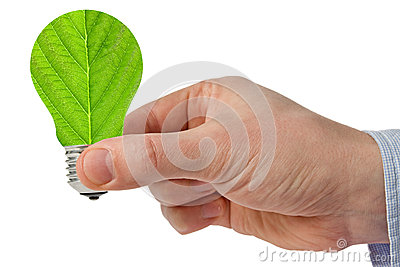 Hand with eco green energy light bulb