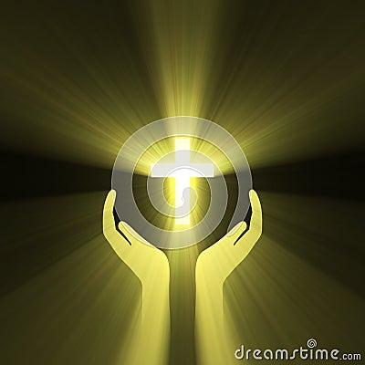 Hand embrace god cross light flare