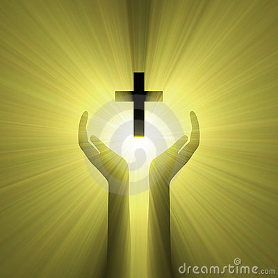 Free Hand Embrace God Cross Light Halo Stock Photos - 6270393