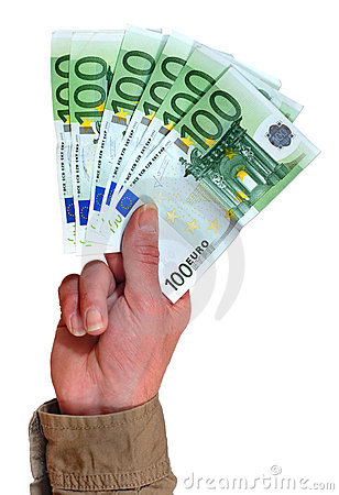 Hand with euro banknotes.