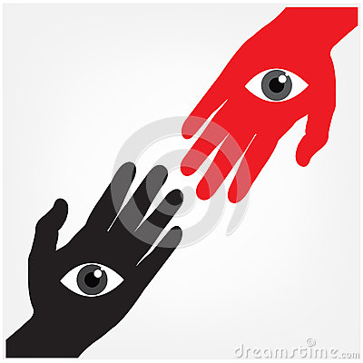 Hand with the eye,vision concept