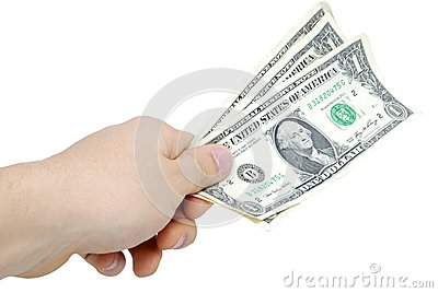 Hand with few bucks isolated on white