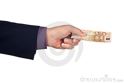 Hand with fifty euro banknote
