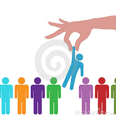 Free Hand Find Select Person In Line Of People Stock Photo - 15449270
