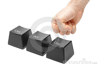 Hand in a fist  push delete key, alt, ctrl