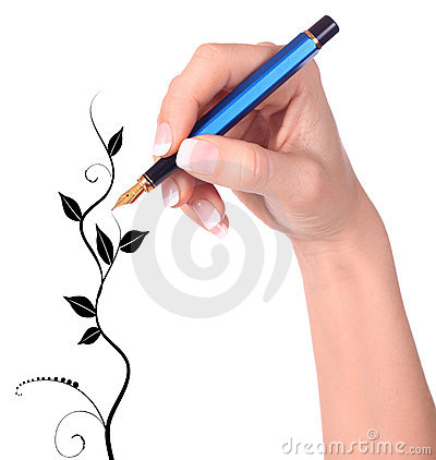 Hand with fountain pen drawing Floral tree