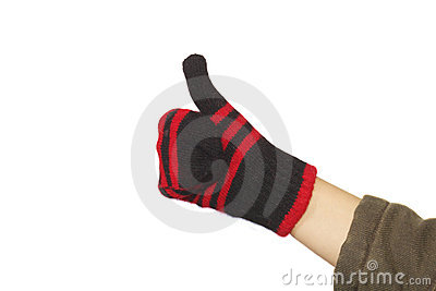 Hand with a fuzzy woolen glove