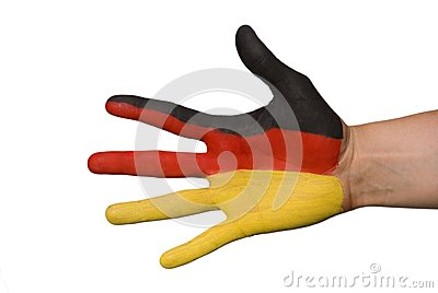 A hand with germany colors