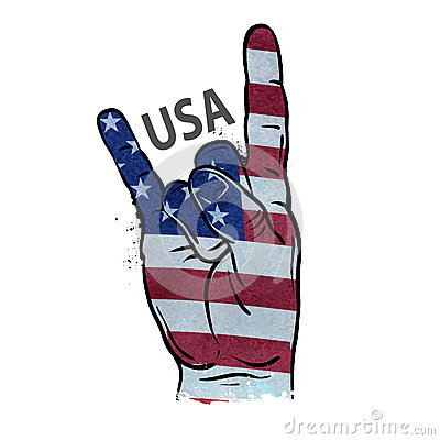 Free Hand Gesture Cool, Rock And Roll. Flag Of USA. Vector Illustration Stock Photos - 66044973