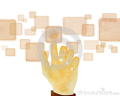Hand gesture pushing button on touch screen on wh