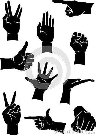 Hand Gesture Signs Set