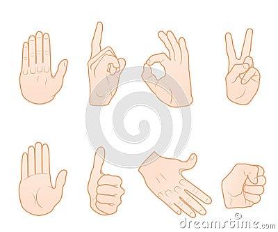 Hand gestures Vector Illustration