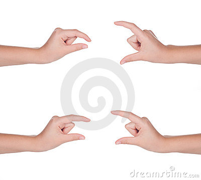 Hand gestures set of female isolated