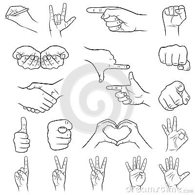 Free Hand Gestures Set, White Background Stock Photography - 50475102