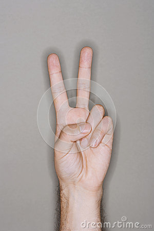 Hand Gesturing Peace Sign