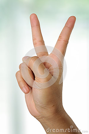 Hand Gesturing Peace