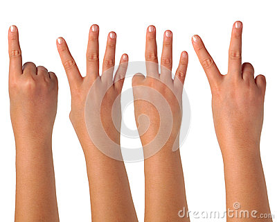 Hand gesturing signs on isolation