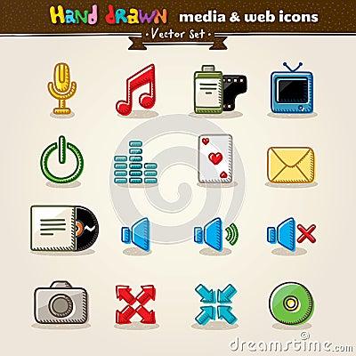 Hand Getrokken Media en de Pictogrammen van het Web van het Vermaak