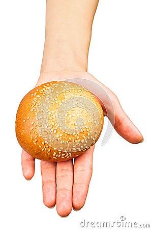 Hand giving a bun