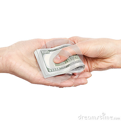 Free Hand Giving Money To Other Hand. Stock Image - 81281771