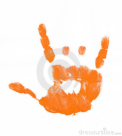 Hand giving rock on sign