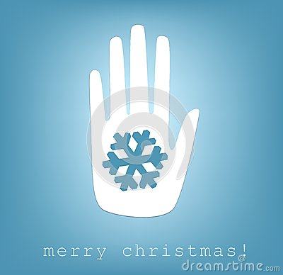 Hand giving snowflake