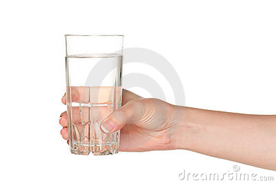 Hand with glass of water
