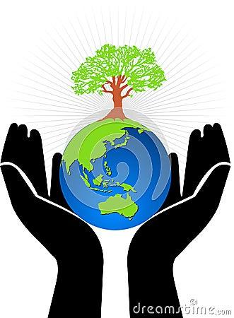 Hand globe tree